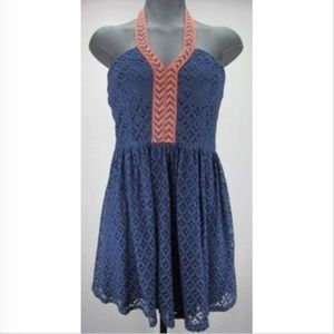 City Triangles halter lace dress - Navy w/ orange